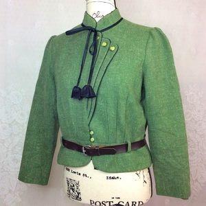 Vintage Green Wool Blend Unique Japanese Blazer M